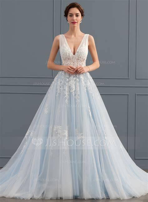 Ball Gown V neck Chapel Train Tulle Lace Wedding Dress