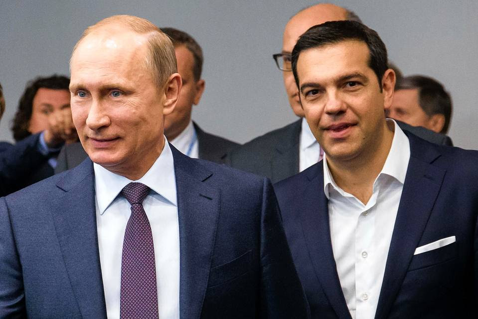 Russian President Vladimir Putin and Greek Prime Minister Alexis Tsipras at an international investment conference in St. Petersburg, Russia, June 19.