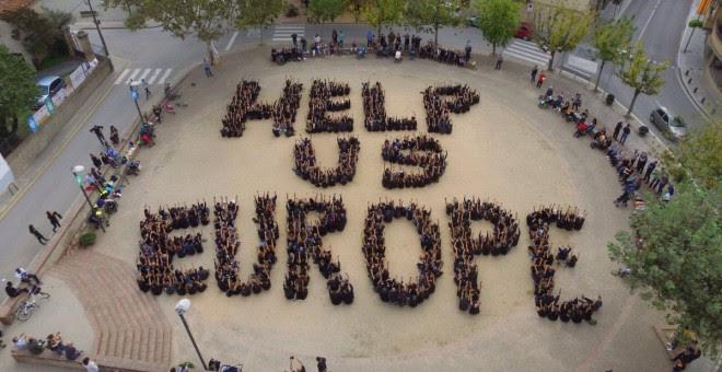 Los vecinos de Sant Antoni de Vilamajor (Barcelona) piden a la UE que interceda, este martes. EP