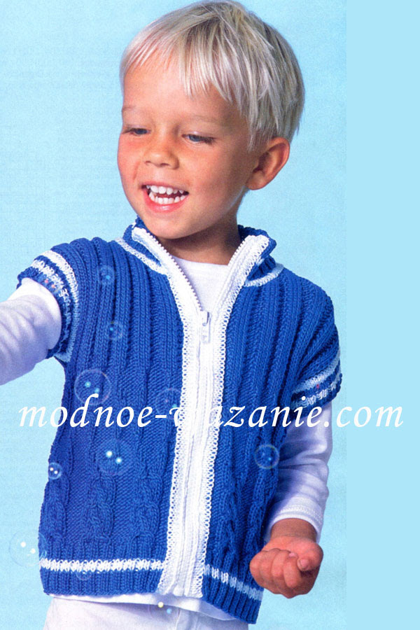 вязаный жилет для мальчика спицами