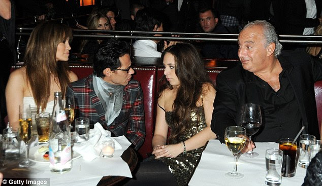 Old friends: Marc and ex-wife Jennifer Lopez with Chloe and her father Sir Philip at Balthazar in New York in April 2009