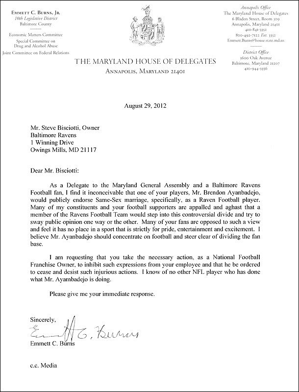 Maryland politician's letter denouncing Brendon Ayanbadejo's support ...