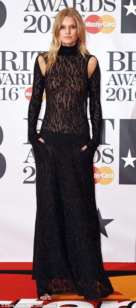 Sheer delight:Toni Garrn was a sight for sore eyes in her almost entirely sheer black dress that included cut-out details on the front of the shoulders and was completely backless
