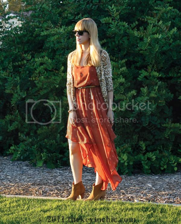 star print asymmetrical dress, leopard cardigan, Aldo Qualheim boots, Los Angeles fashion blog