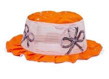 Children orange Panama hat Stock Photo