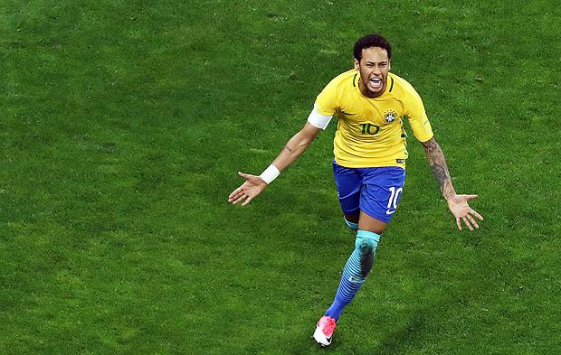 Football Soccer - Brazil v Paraguay - World Cup 2018 Qualifiers - Arena Corinthians stadium, Sao Paulo, Brazil - 28/3/17 - Brazil's Neymar velebrates his goal. REUTERS/Paulo Whitaker ORG XMIT: SAO36