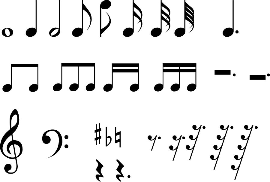 フリーイラスト 音符と音部記号と変化記号のセットでアハ体験 Gahag