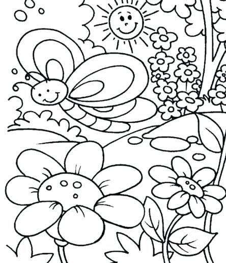 Flower Coloring Pages For Kids Easy Drawing With Crayons