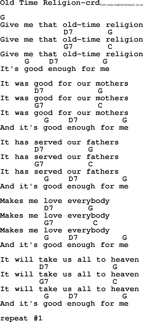 Give Me That Old Time Religion Lyrics Pete Seeger