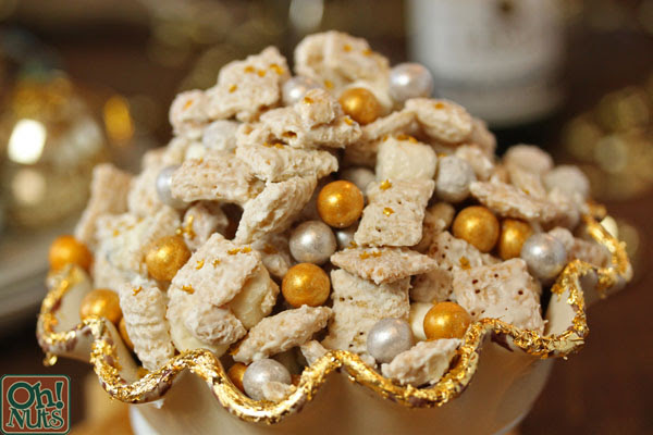 Party Food Idea Silver And Gold Cereal Snack Mix Oh Nuts Blog