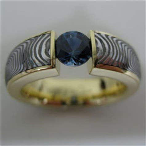 Tension Set Damascus Ring with Sapphire   Chris Ploof