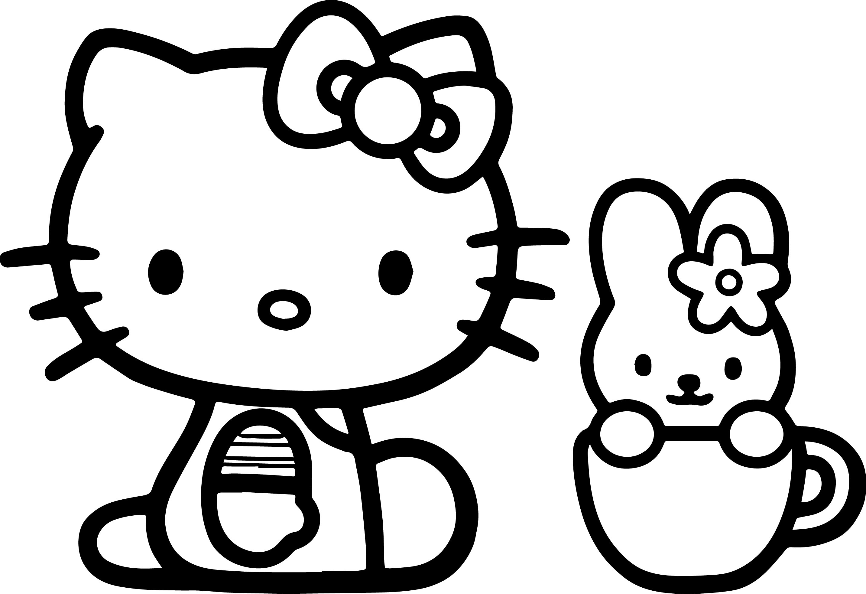 Hello Kitty And Bunny Coloring Page   Wecoloringpage.com