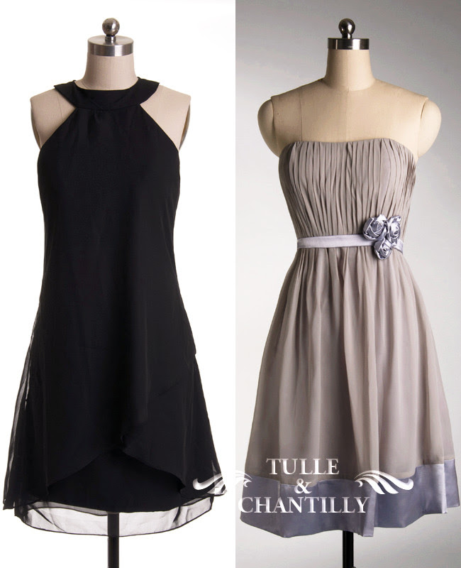 Casual Short Bridesmaid Dresses At Tulle and Chantilly