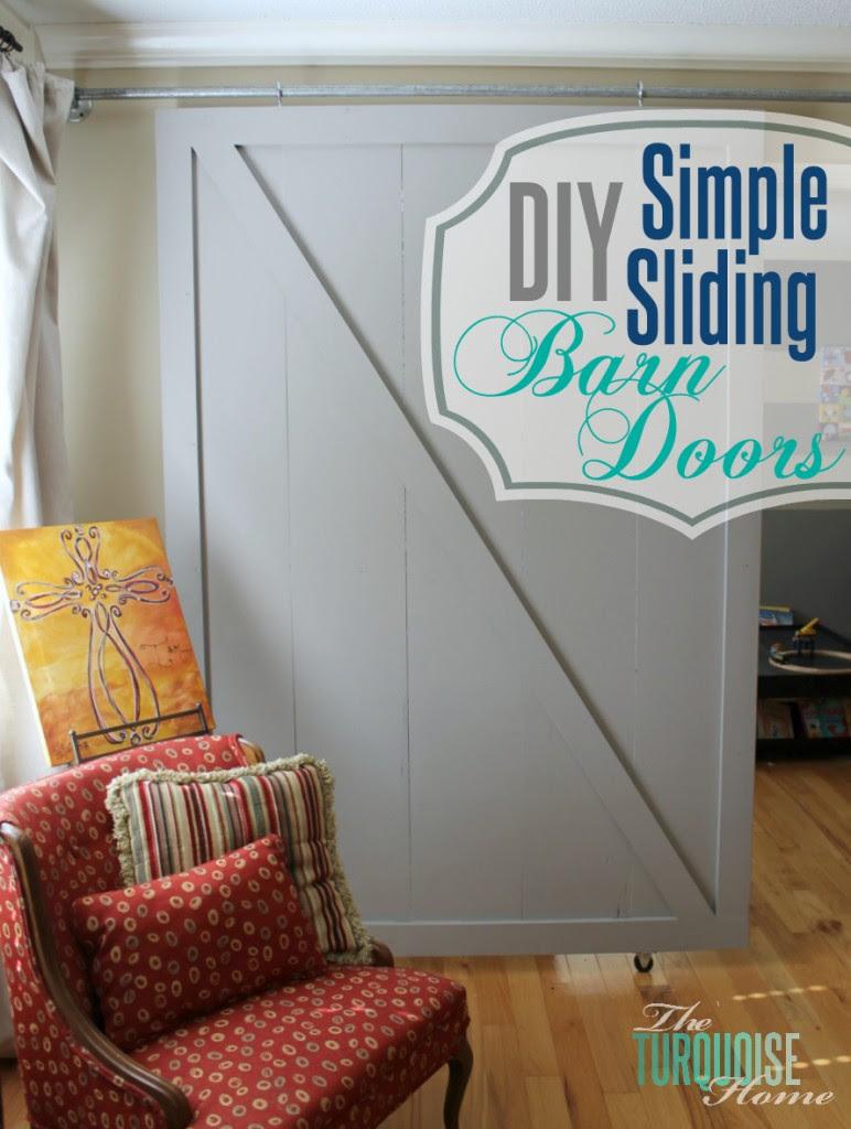 DIY Simple Sliding Barn Doors | TheTurquoiseHome.com