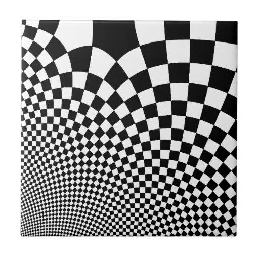 Punk warped retro checkerboard in black and white ceramic tiles ...