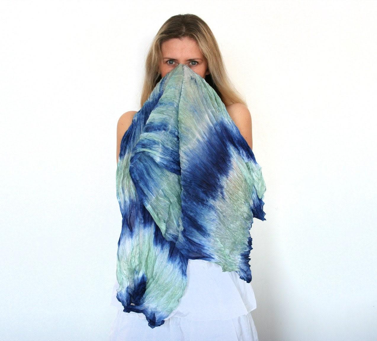 Women scarf, ruffled silk shawl Monaco blue spring green, spring fashion