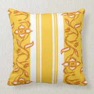 Floral orange yellow funky stripes throwpillow