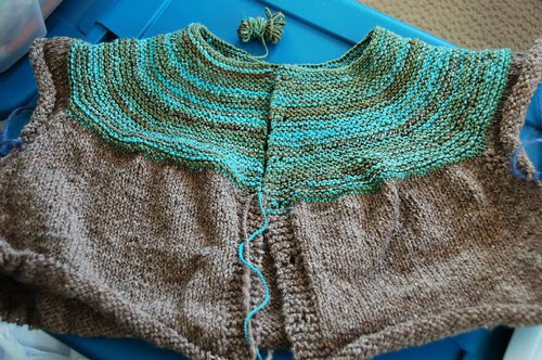 Handspun sweater in progress