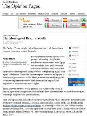 Reprodução do artigo de Lula no 'New York Times', na versão digital, nesta terça-feira (16) (Foto: Reprodução)