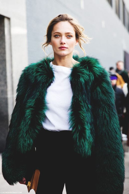 Le Fashion Blog Ways To Wear Green Jacket Coat Fall Winter Street Style Cropped Oversized Fur White Tee High Waist Pants Via Collage Vintage