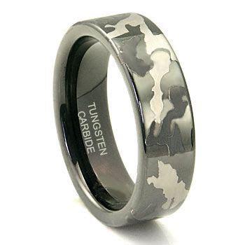 Black Tungsten Carbide 7mm MILITARY CAMOUFLAGE Wedding