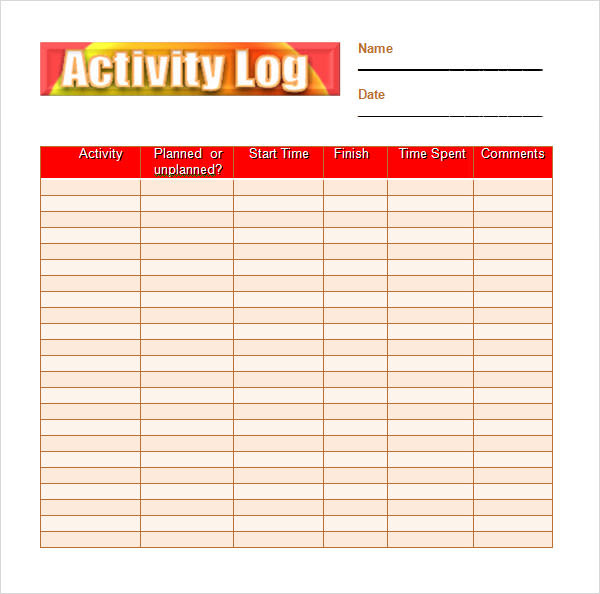 Daily Activity Log For Employees | Daily Planner