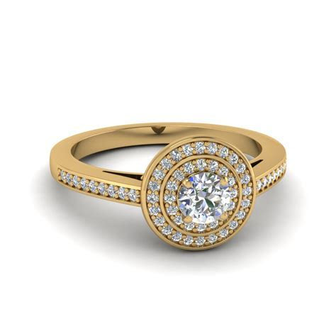 Round Cut Pave Double Halo Diamond Engagement Ring In 14K