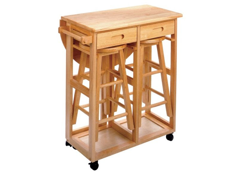Winsome space saver round drop leaf kitchen island table with ...