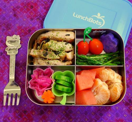 Grilled Furikake Chicken LunchBots Quad Bento by sherimiya ♥