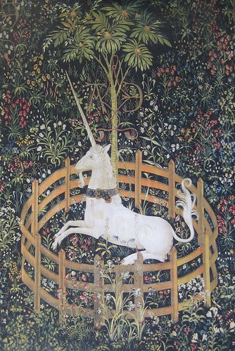 The Unicorn in Captivity (detail), from The Hunt of the Unicorn, South Netherlandish, 1495-1505, The Cloisters, New York City