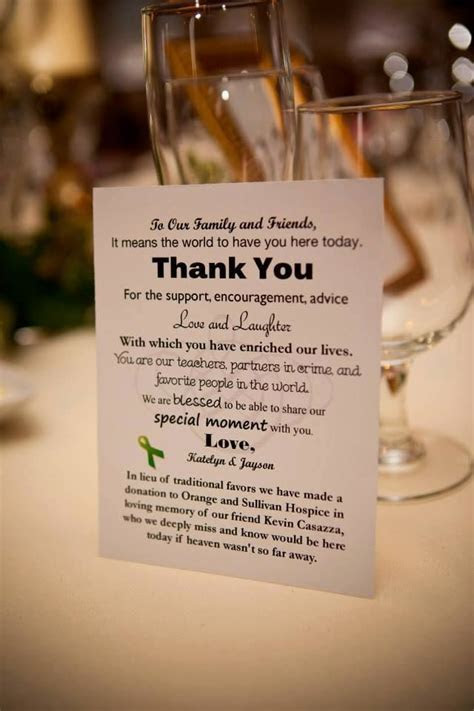 Donation Card in lieu of favors   wedding ideas in 2019