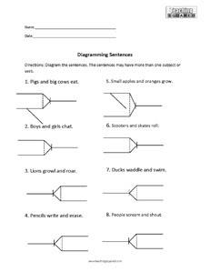 8 Sentence Diagramming Compound Subject Verb worksheet