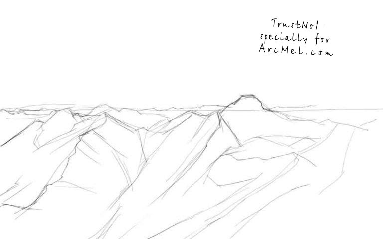 How to draw mountains step by step | ARCMEL.COM
