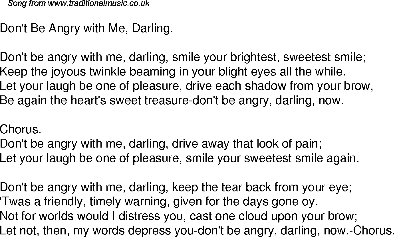 Old Time Song Lyrics For 33 Dont Be Angry With Me Darling