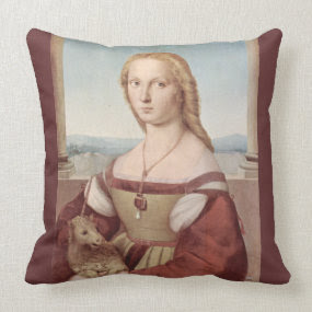 Young Woman with Unicorn Pillow throwpillow