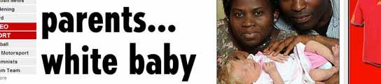 Una pareja de padres negros tiene un bebé blanco en contra de las  leyes de la genética  (Imagen: THE SUN)