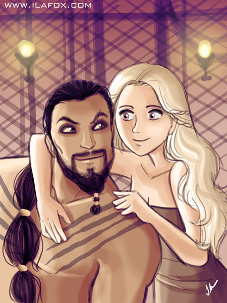 30 Day Drawing Challenge, couple, Desafio dos 30 dias de desenho, um casal, Daenerys e Drogo, by ila fox