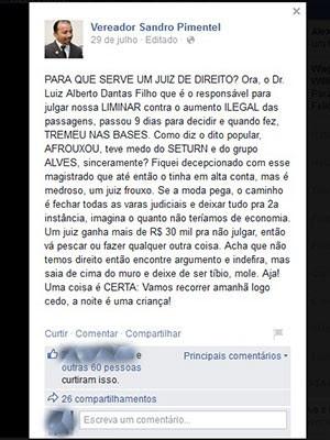Vereador de Natal criticou postura do magistrado nas redes sociais (Foto: Reprodução/Facebook)