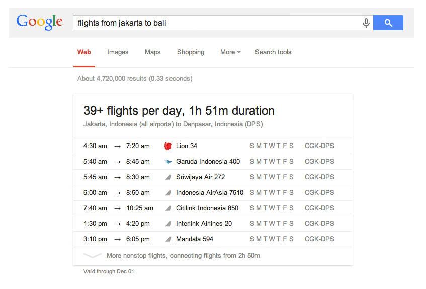 Melihat Jadwal Penerbangan Pesawat dengan Google Search