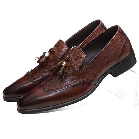 Fashion Brown tan / black pointed toe loafers mens casual