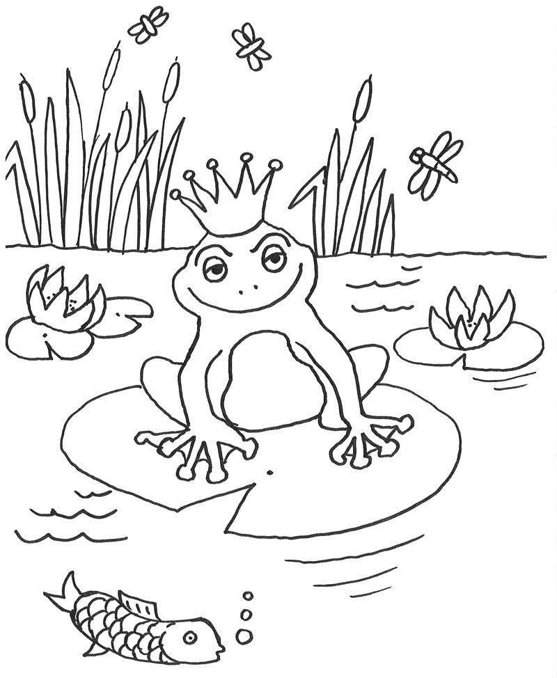 Kostenlose Malvorlage Märchen: Froschkönig zum Ausmalen
