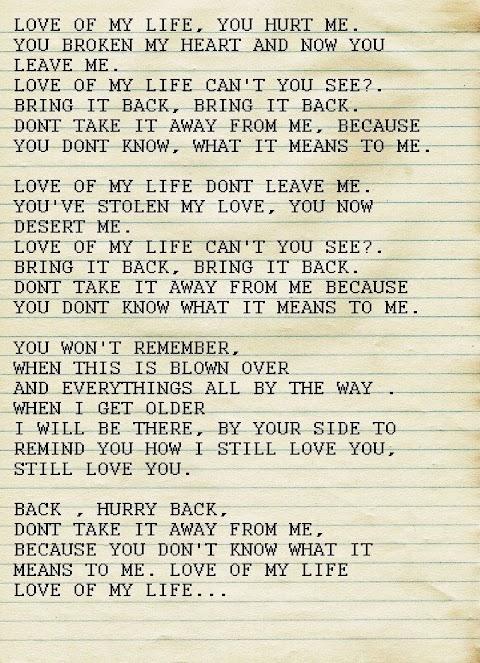 All Of My Life Lyrics Queen