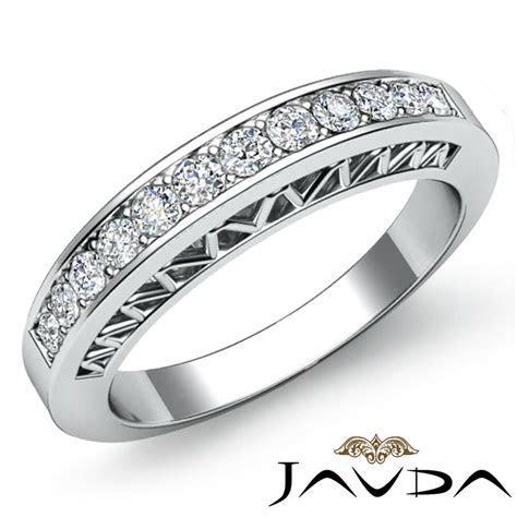 Womens Half Wedding Band 18k White Gold Pave Set Diamond