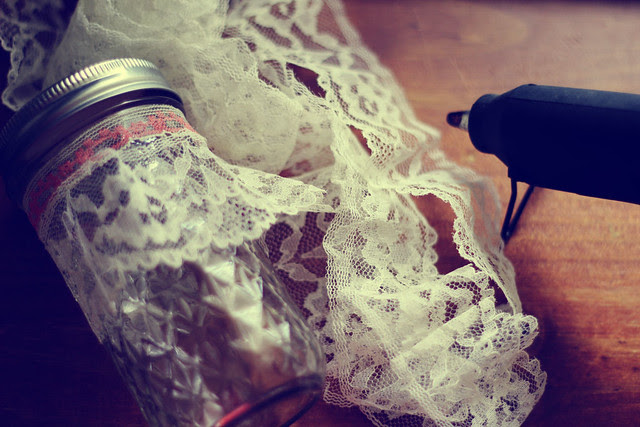 Lace Covered Jars