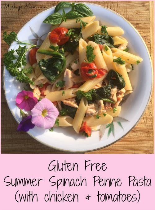 Gluten Free Summer Spinach Penne Pasta