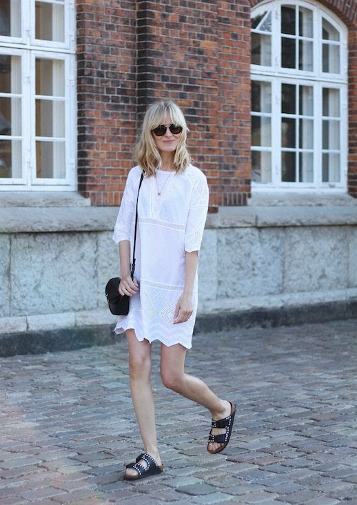 Le Fashion Blog White Summer Dress Black Slides Black Bag Sunglasses Via Blame It On Fashion