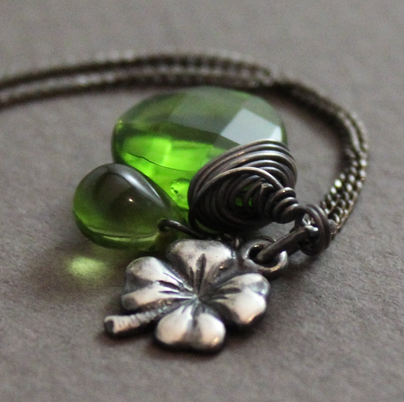 LUCK of the IRISH Emerald Green Gemstone and  Charm Necklace, Clover, Good Luck, May birthstone, Mother sister,  Great Gift