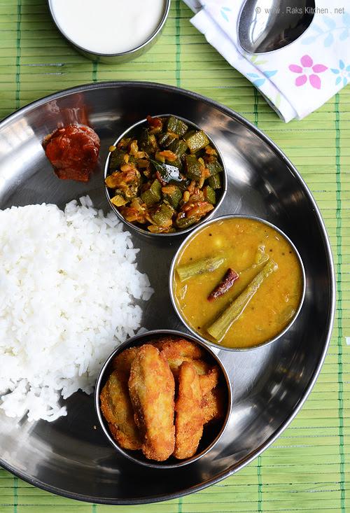 murungakkai sambar, arbi fry and ladies finger curry