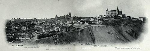 Vista panorámica de Toledo hacia 1900. Fotografía de J. Lacoste montada por cortesía de José María Moreno