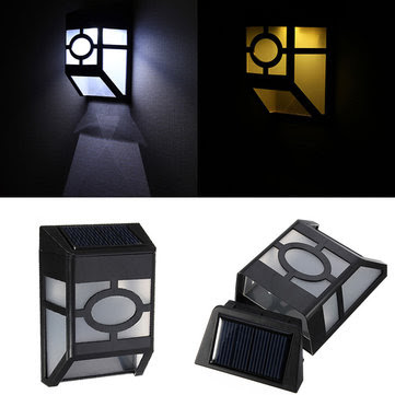 Solar Powered Wall Mount 2 LED Light Lamp Outdoor Garden Fence Path  US$8.85